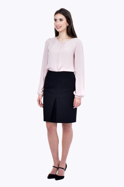 Fusta office midi neagra