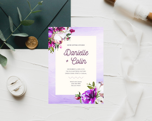 Purple Lush Painted Printed Wedding Invitations