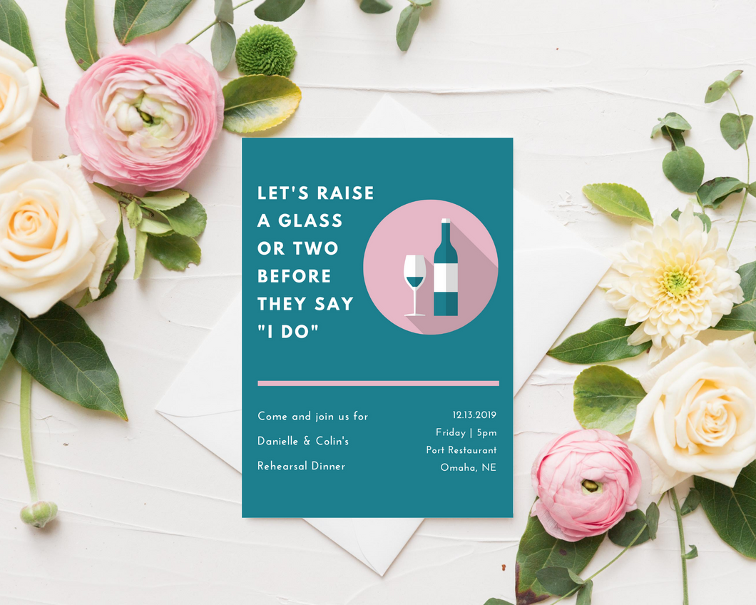Raise a Glass Printed Rehearsal Dinner Invitations
