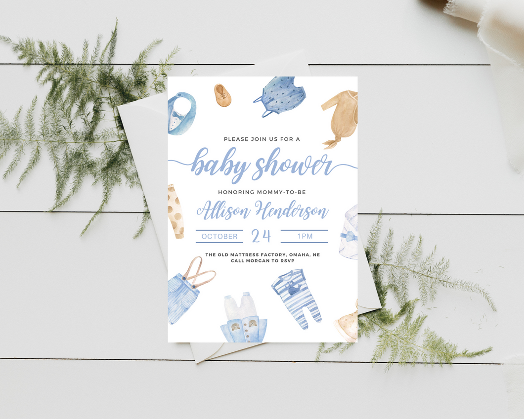Little Boy Printed Baby Shower Invitations