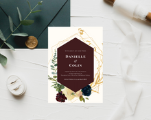 Load image into Gallery viewer, Bordo & Navy Geometric Printed Wedding Invitations