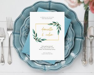 Watercolor Leaves Geometric Printed Wedding Invitations