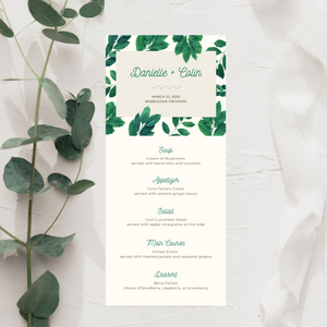 Dark Realistic Leaves Printed Menu Cards