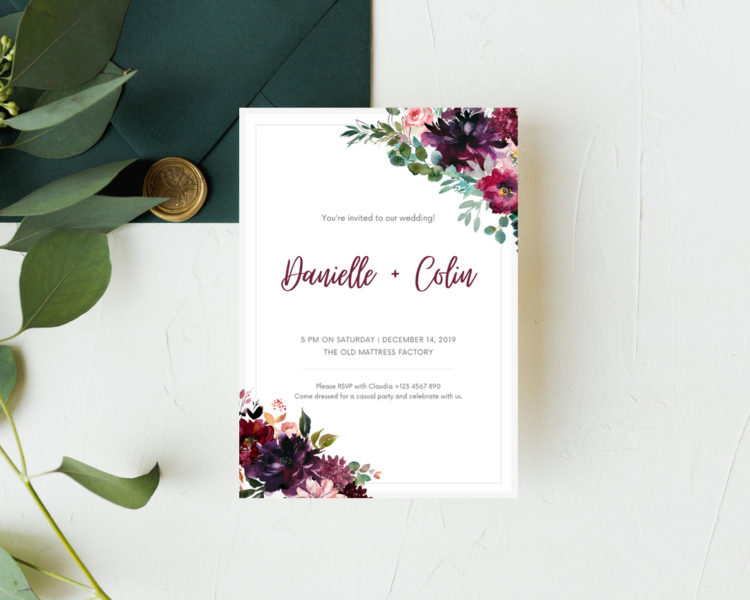 Whisper Floral Corners Printed Wedding Invitations