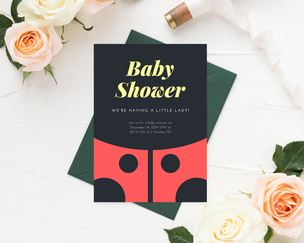Ladybug Printed Baby Shower Invitations