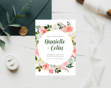 Load image into Gallery viewer, Rose Bouquets Circle Printed Wedding Invitations