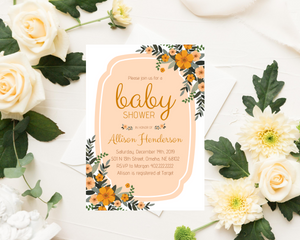 Yellow Floral Printed Baby Shower Invitations