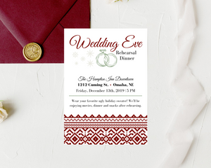 Ugly Christmas Sweater Printed Rehearsal Dinner Invitations