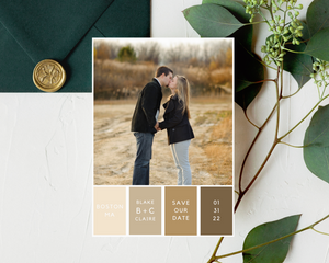 Color Block Printed or Magnet Save the Date