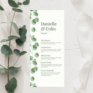 Watercolor Eucalyptus Printed Menu Cards