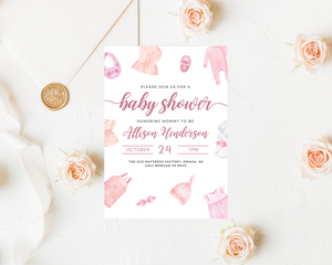 Little Girl Printed Baby Shower Invitations