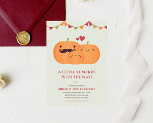 Little Pumpkin Printed Baby Shower Invitations