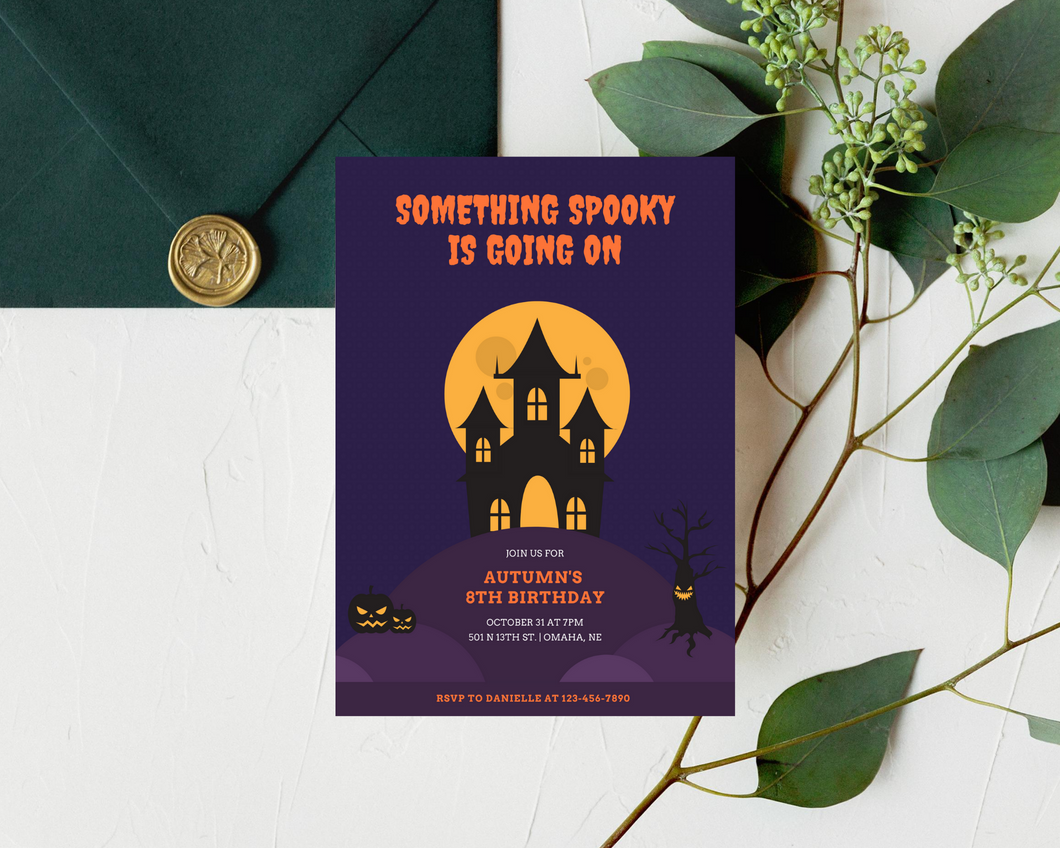 Halloween Haunted House Printed Birthday Party Invitations