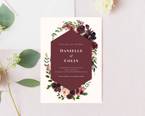 Velvet Floral Geometric Printed Wedding Invitations