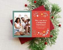 Load image into Gallery viewer, Red & Gold Poinsettia Printed Holiday Cards