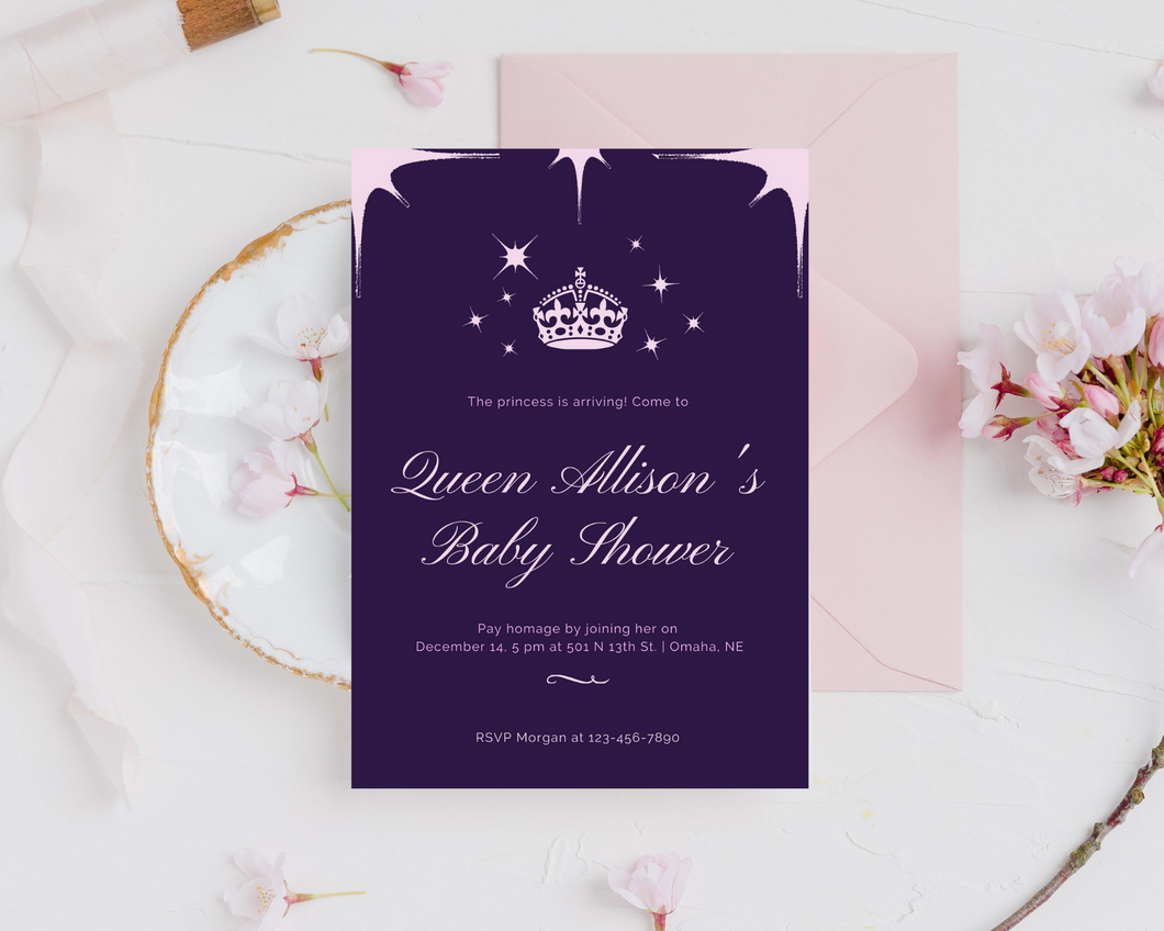 Purple Queen Printed Baby Shower Invitations