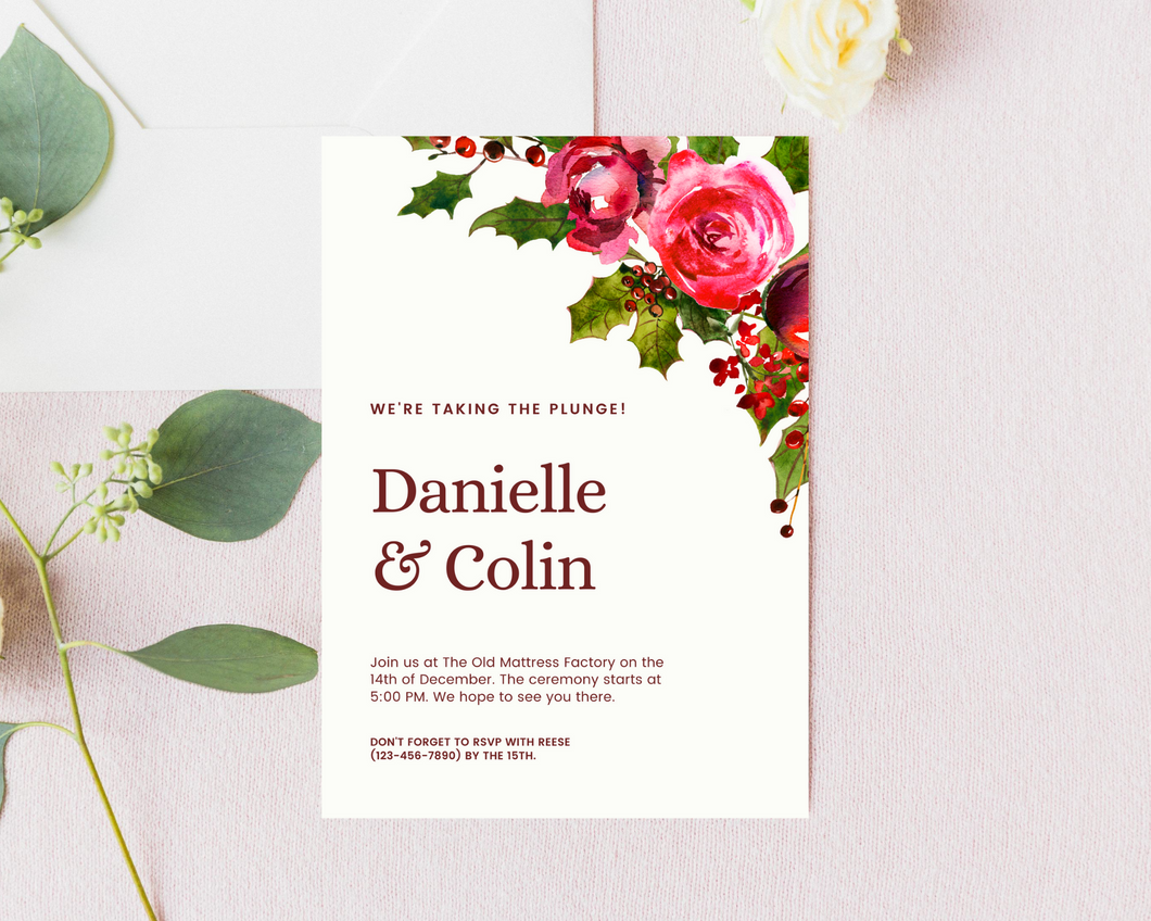 Holly Stems Printed Wedding Invitations