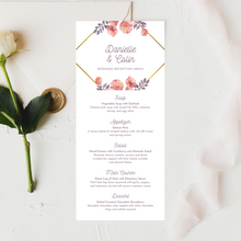 Load image into Gallery viewer, Pink/Purple & Gold Floral Printed Menu Cards