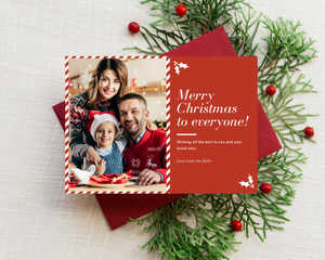 Candy Cane Printed Holiday Cards
