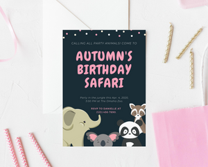 Safari Zoo Printed Birthday Party Invitations