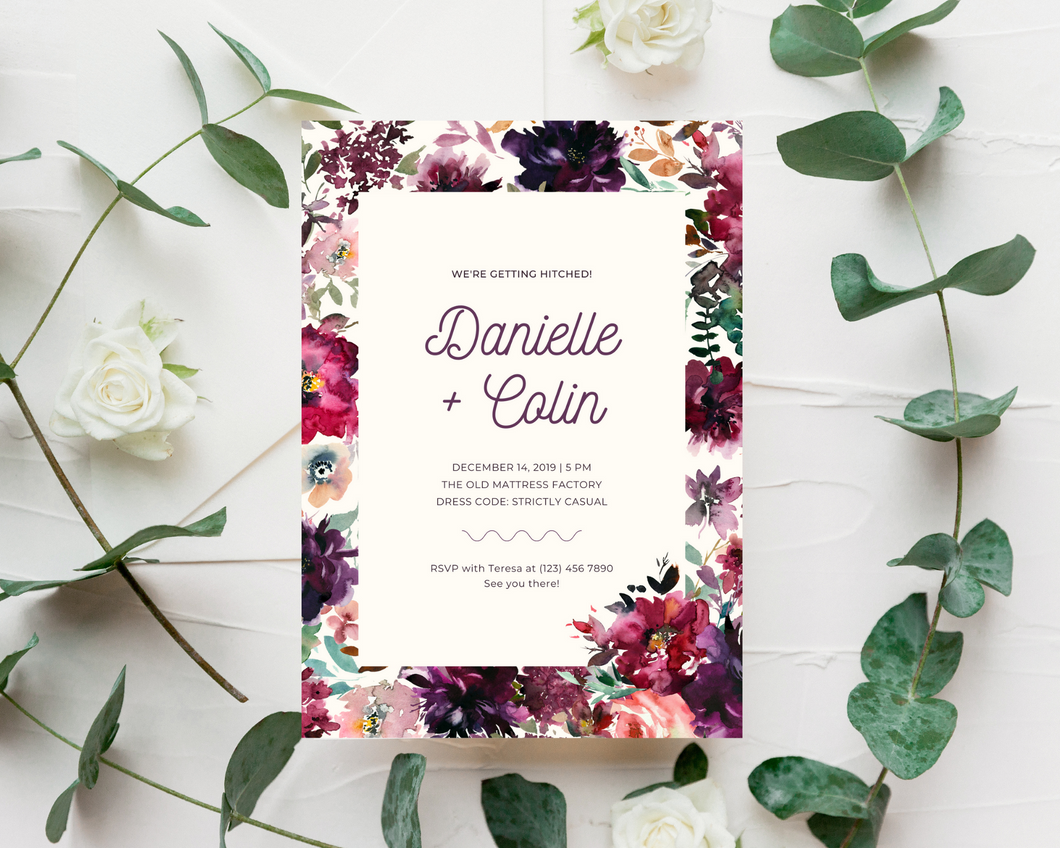 Whisper Floral Background Printed Wedding Invitations