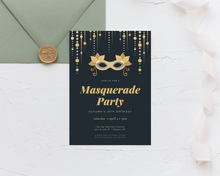 Load image into Gallery viewer, Formal Masquerade Printed Birthday Party Invitations