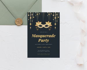Formal Masquerade Printed Birthday Party Invitations