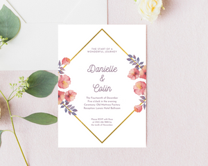 Pink/Purple & Gold Floral Printed Wedding Invitations