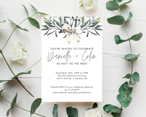 Winter Watercolor Snowberries Printed Wedding Invitations
