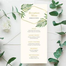Load image into Gallery viewer, Watercolor Palm Leaves Printed Menu Cards