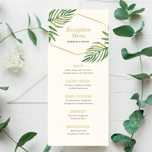 Watercolor Palm Leaves Printed Menu Cards
