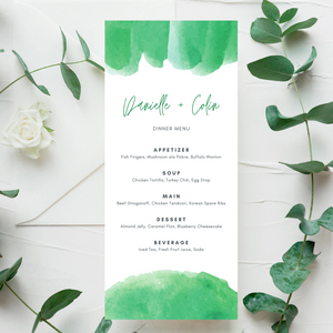 Watercolor Green Printed Menu Cards
