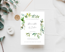 Load image into Gallery viewer, Greenery Frame Printed Wedding Invitations