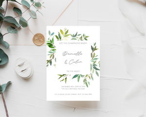 Greenery Frame Printed Wedding Invitations