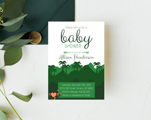 Jungle Monkey Printed Baby Shower Invitations
