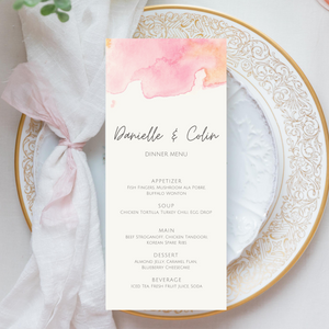 Watercolor Pink Printed Menu Cards