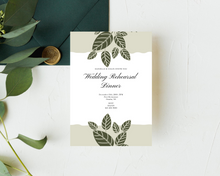 Load image into Gallery viewer, Green Leaves Printed Rehearsal Dinner Invitations