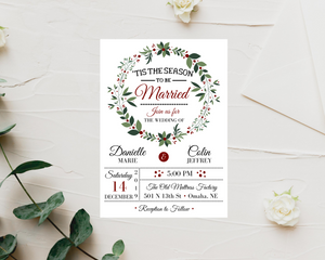 'Tis the Season to be Married Printed Wedding Invitations