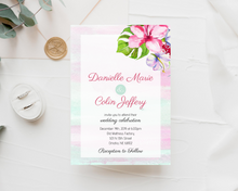 Load image into Gallery viewer, Tropical Pink & Blue Lily Printed Wedding Invitations
