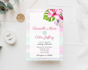 Tropical Pink & Blue Lily Printed Wedding Invitations