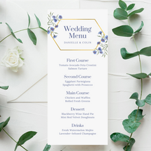 Load image into Gallery viewer, Purple/Blue Wildflowers & Gold Geometric Printed Menu Cards