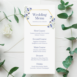 Purple/Blue Wildflowers & Gold Geometric Printed Menu Cards