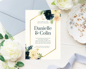 Navy & Blush Geometric Printed Wedding Invitations