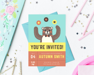 Carnival Bear Printed Birthday Party Invitations