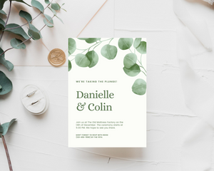 Watercolor Eucalyptus Printed Wedding Invitations