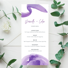 Load image into Gallery viewer, Watercolor Purple Printed Menu Cards