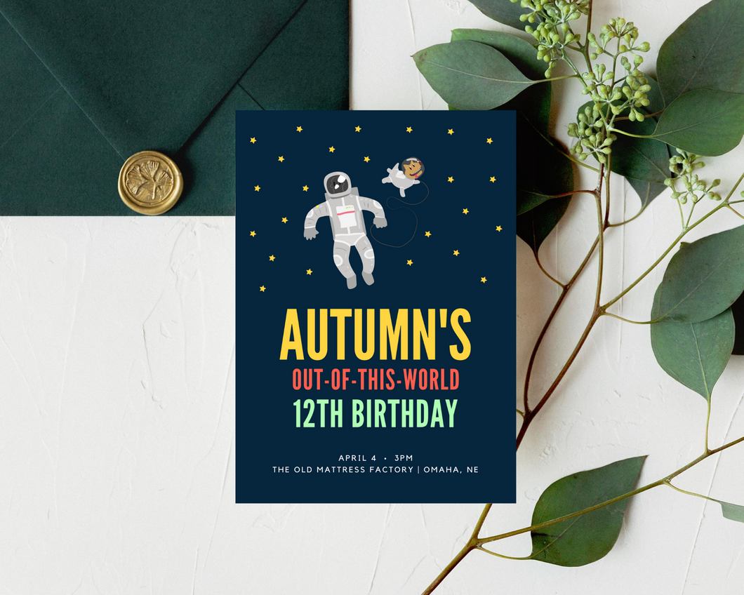 Out of This World Printed Birthday Party Invitations