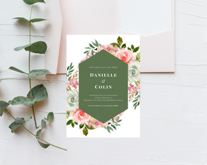 Rose Bouquets Geometric Printed Wedding Invitations
