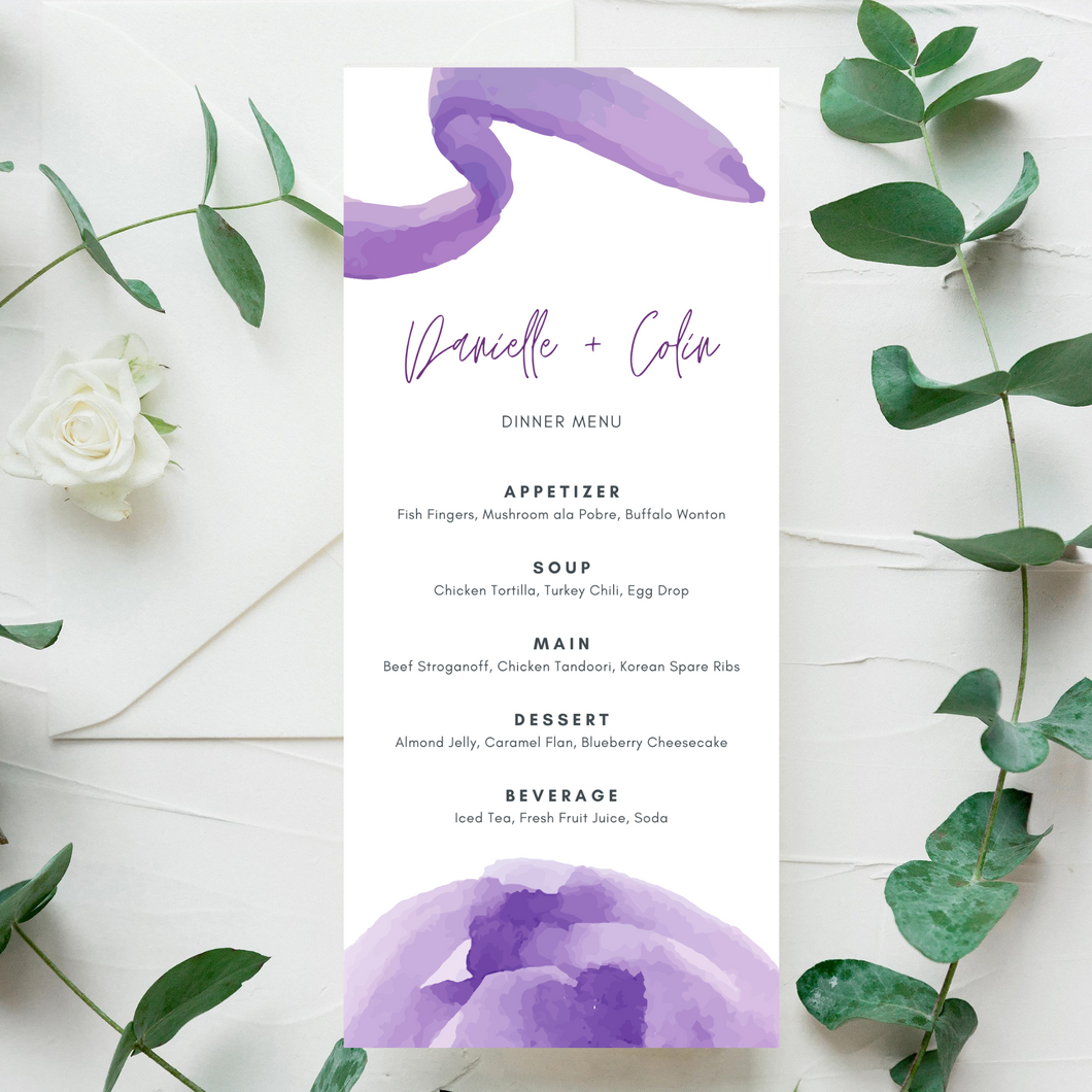 Watercolor Purple Printed Menu Cards