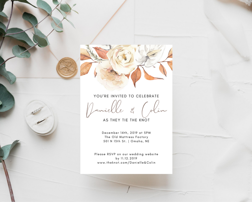 Rustic Fall Floral Printed Wedding Invitations